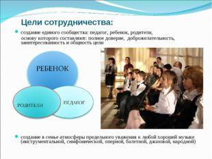 Цели сотрудничества: создание единого сообщества: педагог, ребенок, родители,