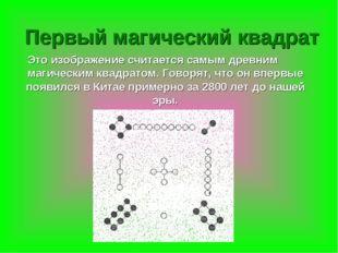 Это изображение считается самым древним магическим квадратом. Говорят, что он