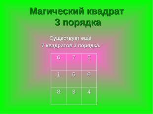 Существует ещё 7 квадратов 3 порядка. Магический квадрат 3 порядка 672 15