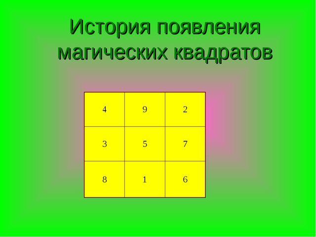 История появления магических квадратов 492 357 816