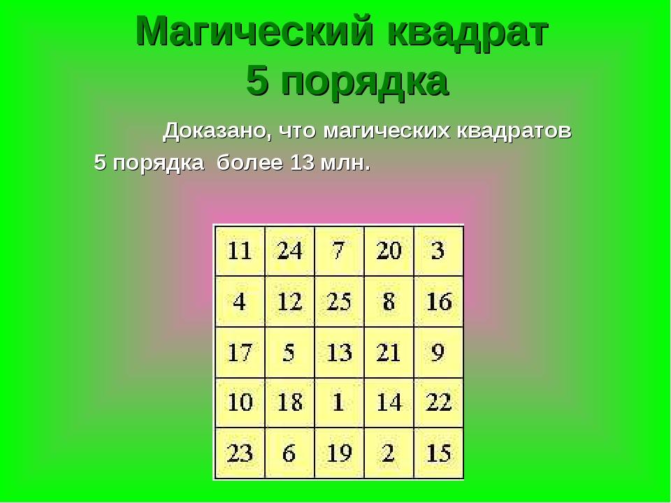 Доказано, что магических квадратов 5 порядка более 13 млн. Магический квадра...