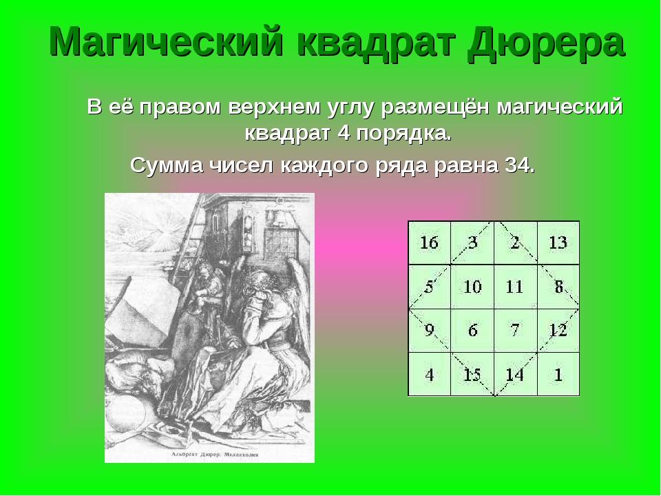 В её правом верхнем углу размещён магический квадрат 4 порядка. Сумма чисел...