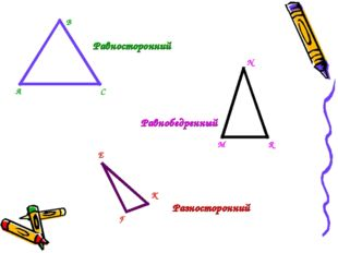 Равносторонний Равнобедренный Разносторонний А В С М N R K F E