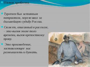 Пятая проблема. Тургенев был истинным патриотом, переживал за дальнейшую суд