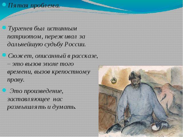 Пятая проблема. Тургенев был истинным патриотом, переживал за дальнейшую суд...