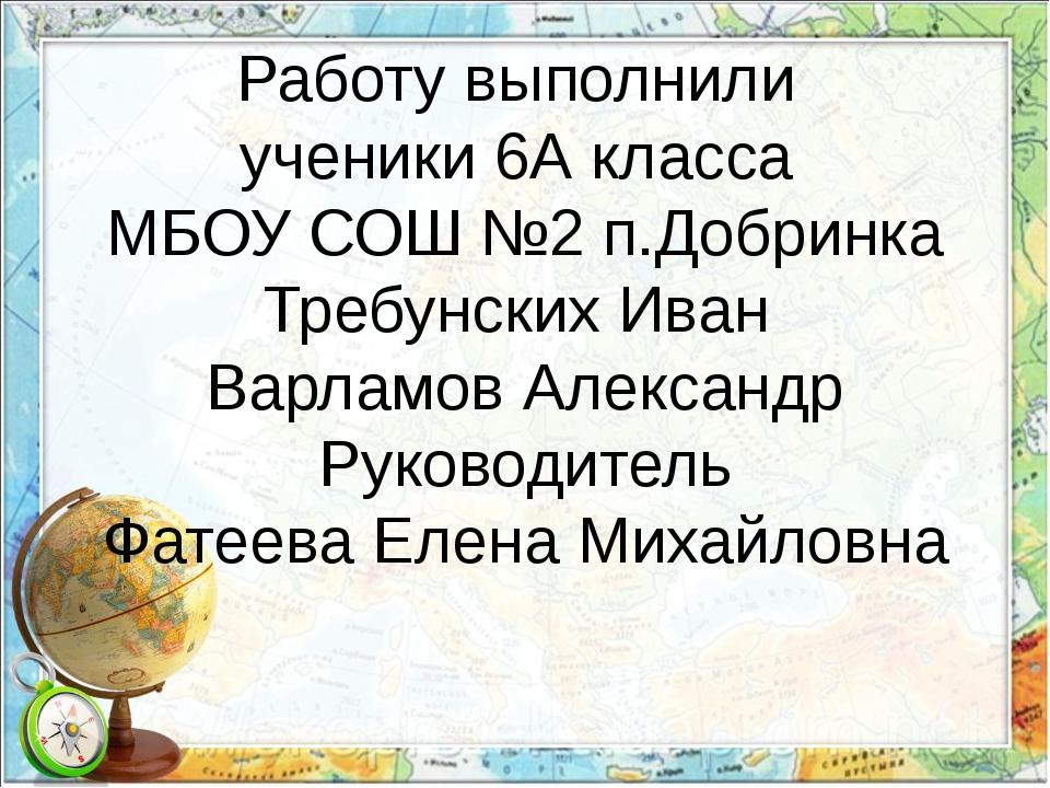 Работу выполнили ученики 6А класса МБОУ СОШ №2 п.Добринка Требунских Иван Вар...