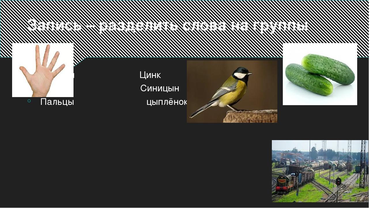 Запись – разделить слова на группы Станция Цинк Огурцы Синицын Пальцы цыплёнок