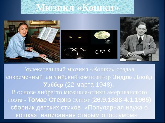 Мюзикл «Кошки» Увлекательный мюзикл «Кошки» создал современный английский ком...