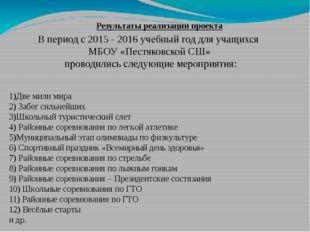 Результаты реализации проекта В период с 2015 - 2016 учебный год для учащихся