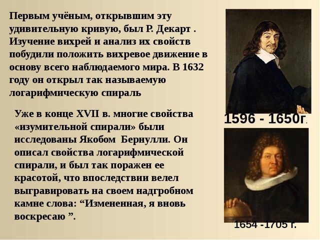 Первым учёным, открывшим эту удивительную кривую, был Р. Декарт . Изучение...