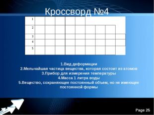 Кроссворд №4 1.Вид деформации 2.Мельчайшая частица вещества, которая состоит