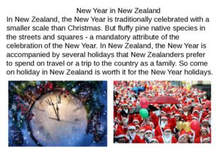 New Year in New Zealand In New Zealand, the New Year is traditionally celebr