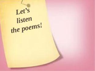 Let's listen the poems!