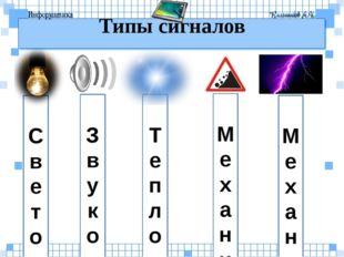 Т е п л о в ы е С в е т о в ы е Типы сигналов З в у к о в ы е М е х а н и ч