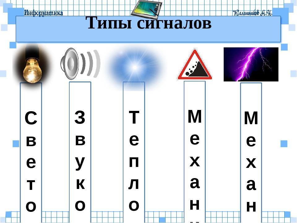 Т е п л о в ы е С в е т о в ы е Типы сигналов З в у к о в ы е М е х а н и ч...