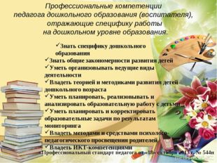 Профессиональные компетенции педагога дошкольного образования (воспитателя),