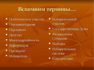 Вспомним термины… Политическое участие Парламентаризм Парламент Депутат Много