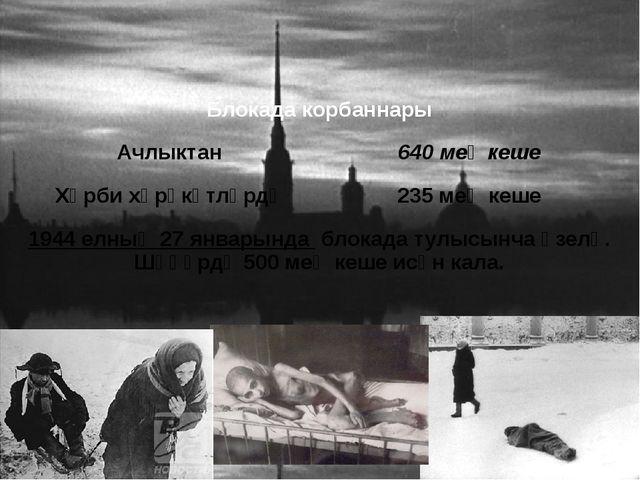 Блокада корбаннары Ачлыктан 640меңкеше Хәрби хәрәкәтләрдә 235меңкеше 1944елны...
