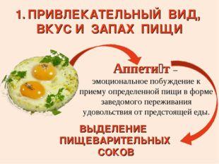 Аппети́т – эмоциональное побуждение к приему определенной пищи в форме заведо