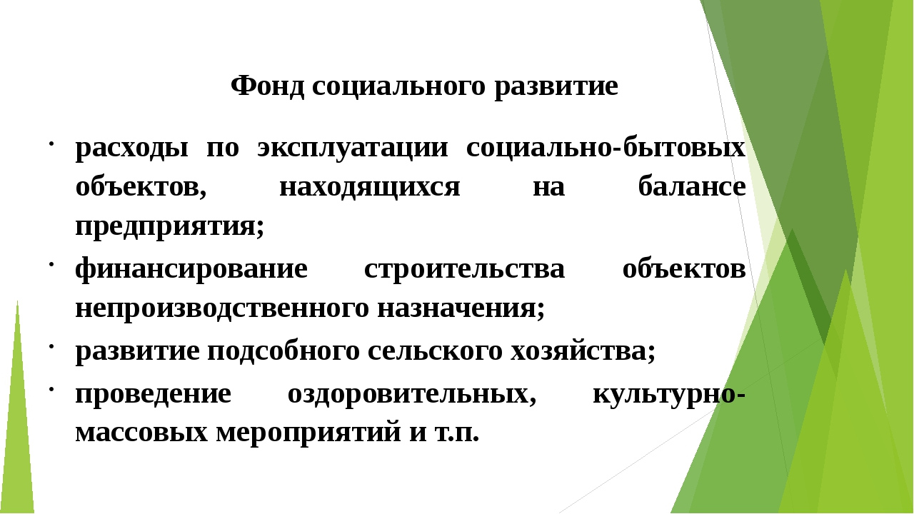 Фонд социального развитие расходы по эксплуатации социально-бытовых объектов,...