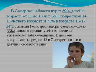 В Самарской области курят 89% детей в возрасте от 11 до 13 лет, 68% подростк