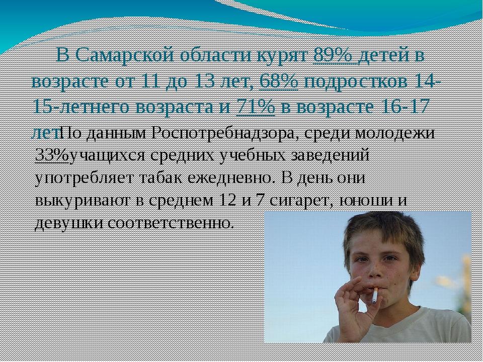 В Самарской области курят 89% детей в возрасте от 11 до 13 лет, 68% подростк...