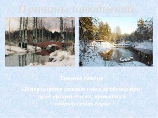 Таяние снегов Интенсивное таяние снега, особенно при промёрзшей земле, приво