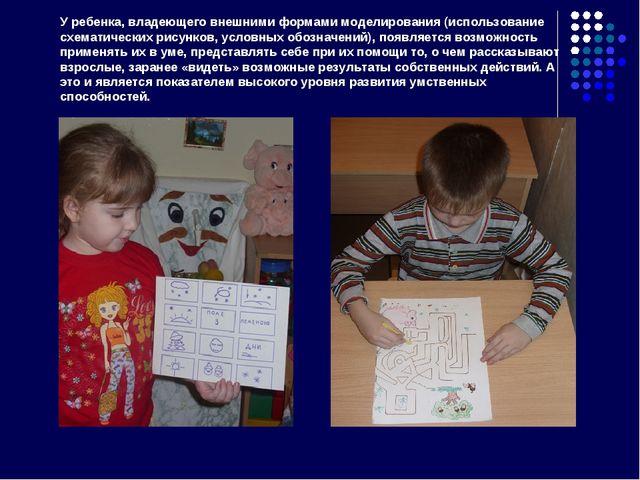 У ребенка, владеющего внешними формами моделирования (использование схематиче...