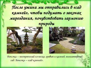 После ужина мы отправились в «сад камней», чтобы подумать о законах мироздани
