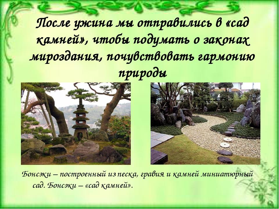 После ужина мы отправились в «сад камней», чтобы подумать о законах мироздани...