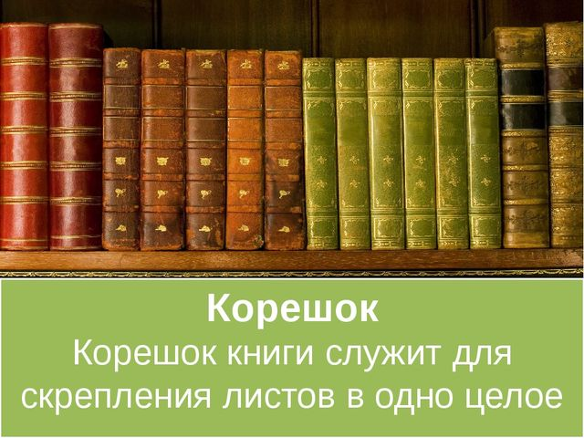 Корешок Корешок книги служит для скрепления листов в одно целое