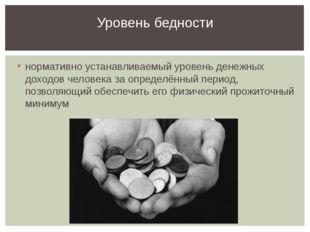 нормативно устанавливаемый уровень денежных доходов человека за определённый