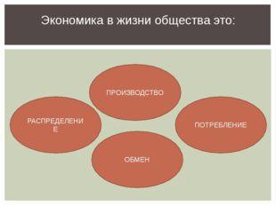 Экономика в жизни общества это: РАСПРЕДЕЛЕНИЕ ОБМЕН ПОТРЕБЛЕНИЕ ПРОИЗВОДСТВО