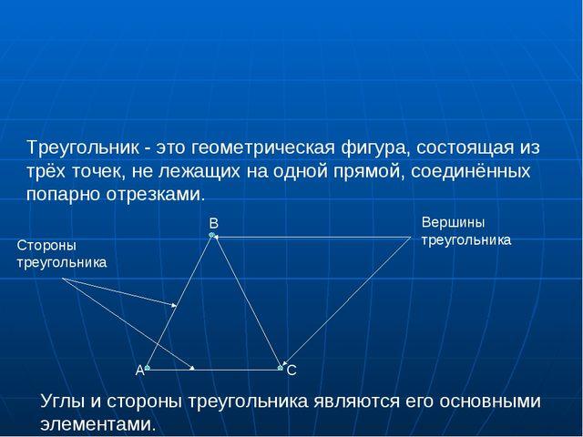 Треугольник - это геометрическая фигура, состоящая из трёх точек, не лежащи...
