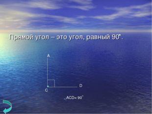 Прямой угол – это угол, равный 90 . А С D ACD= 90