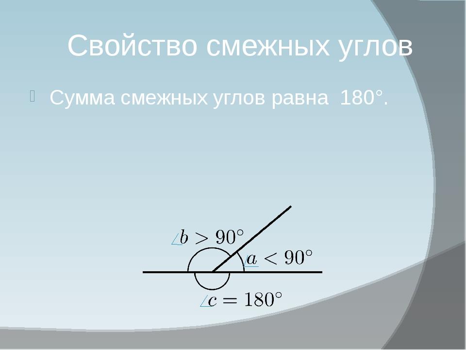 Свойство смежных углов Сумма смежных углов равна 180°.
