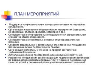 ПЛАН МЕРОПРИЯТИЙ Поддержка профессиональных ассоциаций и сетевых методически