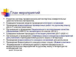 План мероприятий Развитие системы профессиональной экспертизы измерительных (