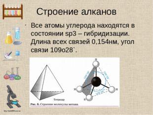 Строение алканов Все атомы углерода находятся в состоянии sp3 – гибридизации.
