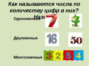 Как называются числа по количеству цифр в них? Назови. Однозначные Двузначные