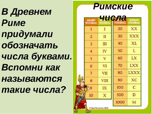 В Древнем Риме придумали обозначать числа буквами. Вспомни как называются та...