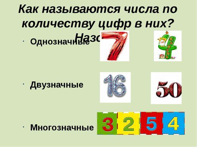 Как называются числа по количеству цифр в них? Назови. Однозначные Двузначные...