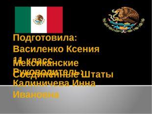 Мексиканские Соединённые Штаты Подготовила: Василенко Ксения 11 класс Руковод