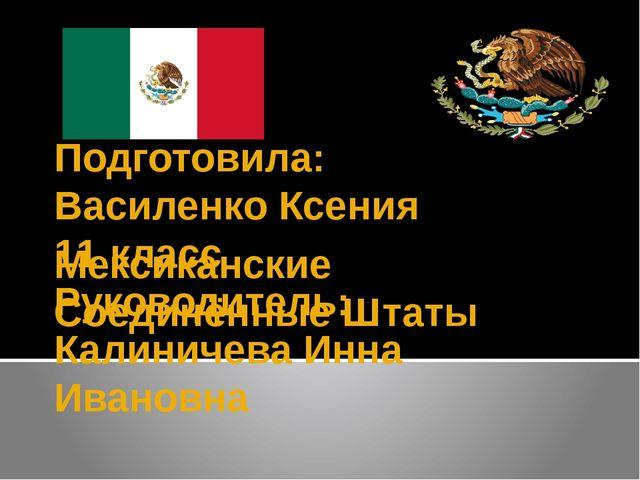 Мексиканские Соединённые Штаты Подготовила: Василенко Ксения 11 класс Руковод...