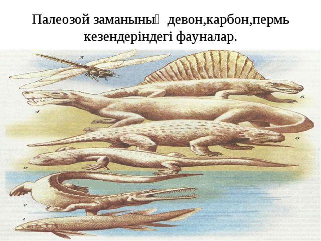 Палеозой заманының девон,карбон,пермь кезендеріндегі фауналар.