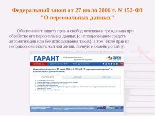 """Федеральный закон от 27 июля 2006 г. N 152-ФЗ """"О персональных данных"""" Обеспе"""