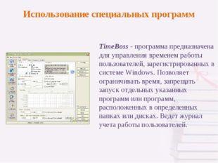 TimeBoss - программа предназначена для управления временем работы пользовател