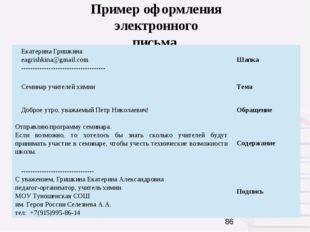 Пример оформления электронного письма ЕкатеринаГришкина eagrishkina@gmail.co