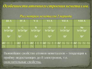 Важнейшее свойство атомов неметаллов – тенденция к приёму недостающих до 8 эл