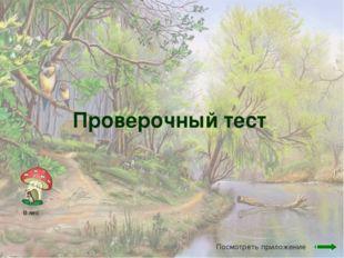 Проверочный тест В лес Посмотреть приложение